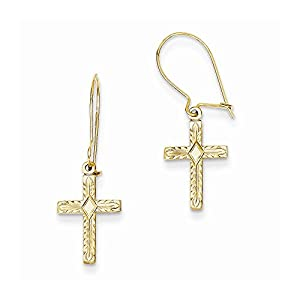 14k Gold Kidney Wire Cross Earrings