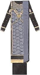 Pakeeza Libas Women's Georgette Straight UnStitched Dress Material (PKL2, Black & Dark Grey)