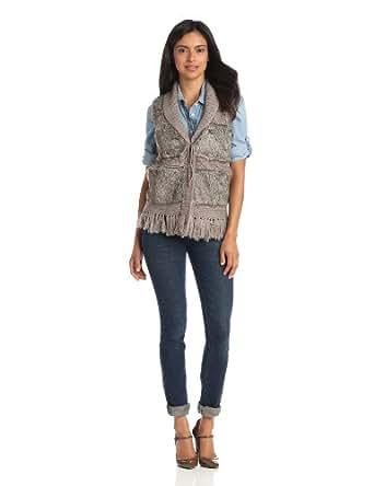 Parkhurst Women's Cable Fur Vest, Taupe, Small