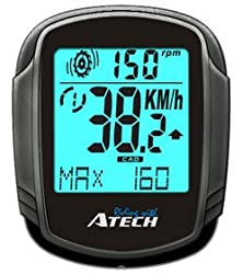 ATECH MCX235 Double Wireless Cycle Computer Cyclometer with EL Backlight, Odometer, Cadence, Speedometer, Bike 1 & 2 Option by ATECH
