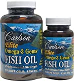 Carlson Labs Elite Omega-3 Gems Fish Oil 1250mg, 120 Softgels