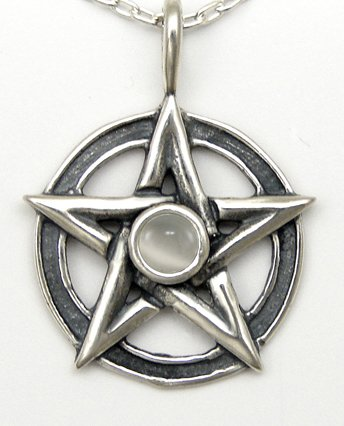 A Perfect Pentacle Pendant in Sterling Silver, Accented with Genuine White ...Jewelry Made in America