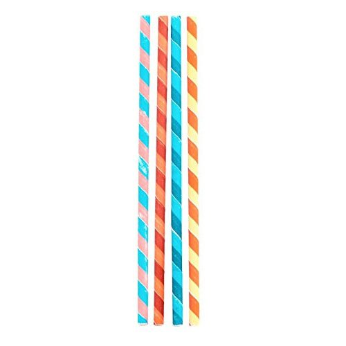 Kikkerland Biodegradable Party Stripes Paper Straws, Multicolored, Box of 144