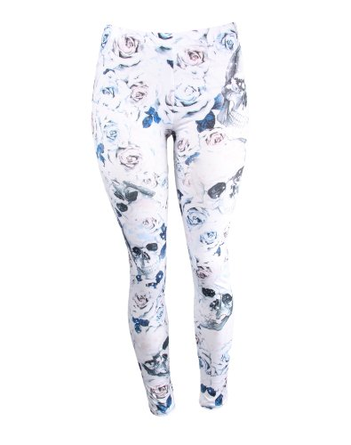 White Skull and Floral Design Print Stretchy Leggings (Large)