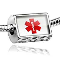 "Neonblond Beads Medical Alert Red ""Hospital Logo"" - Fits Pandora Charm Bracelet by NEONBLOND Jewelry & Accessories"