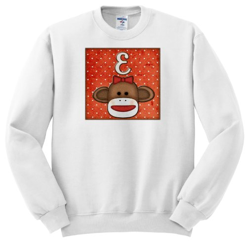Dooni Designs Monogram Initial Designs - Cute Sock Monkey Girl Initial Letter E - Sweatshirts