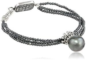 King Baby 3 Strand Hematite Crowned Tahitian Pearl Bracelet, 7.5