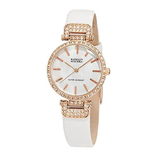 badgley-mischka-womens-ba-1188rgwt-swarovski-crystals-accented-white-leather-strap-watch