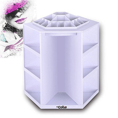 HiCollie Makeup/Cosmetic Organizer 360 Rotating /Revolving Cosmetic Storage Tabletop Big Capacity Carousel New Sturdy Stylish 2016 White (Tabletop Cosmetic Organizer compare prices)