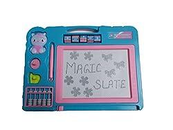 Magic Slate + Black Slate Chalk Board,double sided slate one magic + chalk slate (Sky Blue)