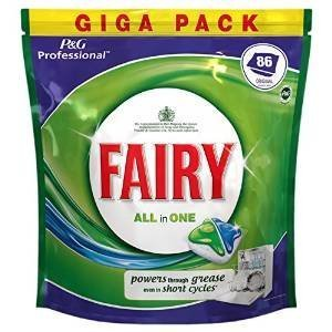 Fairy Dishwasher Tablets Original 86 All in One Professional Giga Pack Powerful Cleaning Action Tough Stain Removal Powers Through Grease Even In Short Cycles Liquid Grease Dissolvers Super Shine Function Limescale Prevention PLUS SHORT CYCLE CLEANING ACTION (86) by FAIRY