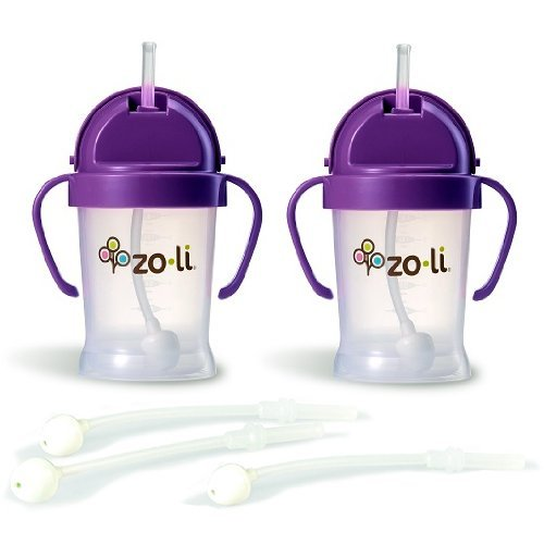 Zoli BOT Sippy Cups - Purple (2 Pack) WITH 3 BOT Replacement Straws.