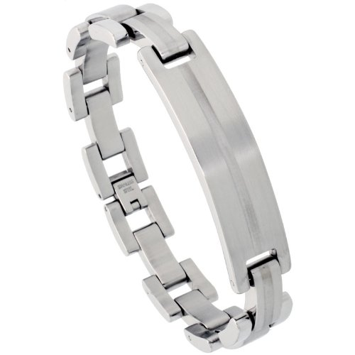 Stainless Steel men's ID Bracelet, w/ Laser Etched Stripe, 1/2 inch (12.5 mm) wide,