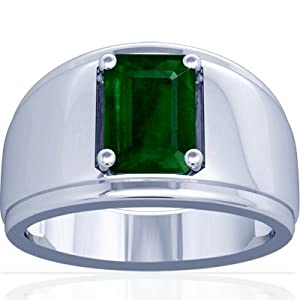 18K White Gold Emerald Cut Emerald Mens Ring (GIA Certificate)