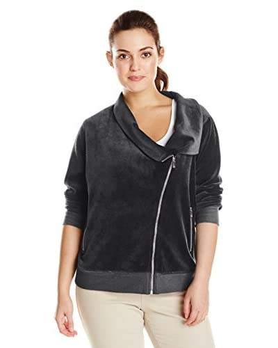 Two by Vince Camuto Plus Women's Velour Asymmetric Bomber Jacket