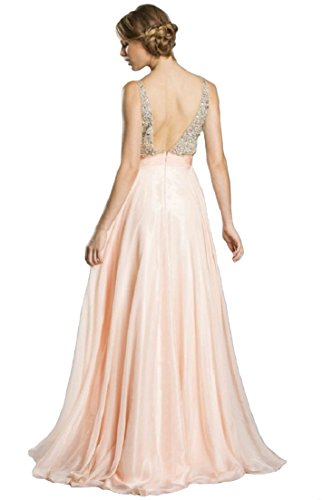 Meier Women's Rhinestone A Line Formal Chiffon Prom Dress (18, Baby Pink)