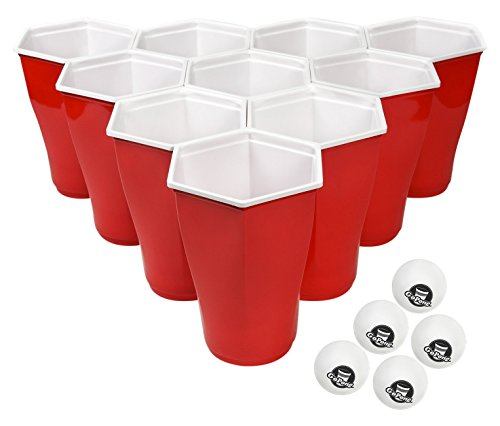 Find Bargain GoPong 6-Sided Party Cups with 5 Pong Balls (50 Pack), Perfect for Beer Pong