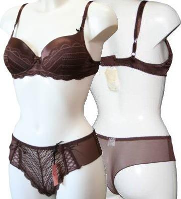 Valbonne Brown Satin Lace Bra & Thong Set (2072) 36B/M