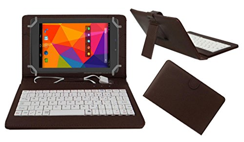 ACM PREMIUM USB KEYBOARD TABLET CASE HOLDER COVER FOR MICROMAX CANVAS TAB P480 With Free MICRO USB OTG - BROWN