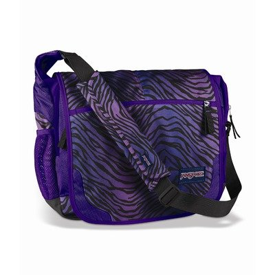 JanSport Core Series Elefunk- Printed Messenger Bag (Grey Tar/Purple Slick Parson Plaid)