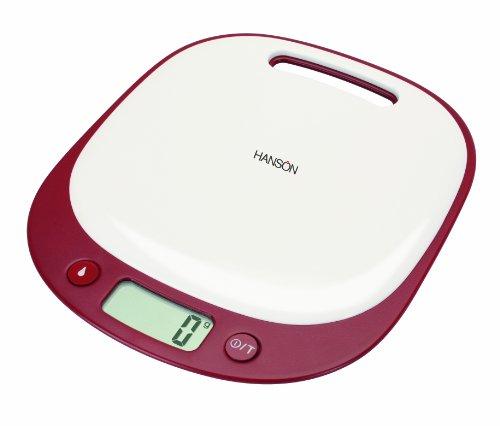 Hanson Happy Cook Balance de cuisine électronique avec mesurage des liquides Rouge/blanc 5 kg