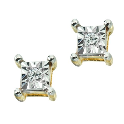 DiAura 14k Gold Plated Sterling Silver Diamond-Accent Stud Earrings