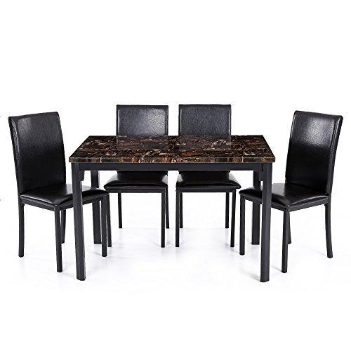 IKAYAA 5PCS Cucina Moderna Sala da Pranzo Tavolo Sedia Set per 4 bella Persona Simile al Marmo Top Max 180 kg Capacità di Carico