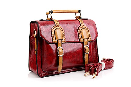 UonBox Women's British Vintage PU Leather Patchwork Satchel Shoulder Hand Bag