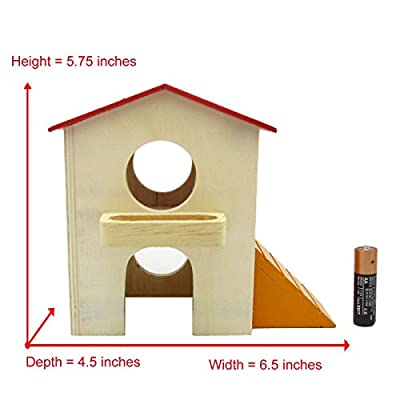 Alfie Pet Small Animal Hideout - GARI Wood Hut (Living Habitat for Dwarf Hamster and Mouse) - Size: Medium