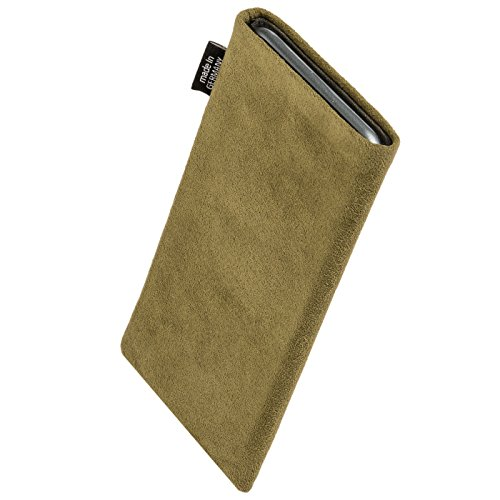 fitBAG Classic Khaki custom tailored sleeve for ARCHOS 50 Oxygen. Genuine Alcantara pouch with integrated MicroFibre lining for display cleaning discount price 2016