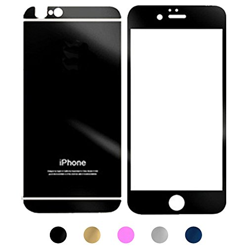 Gravydeals Black Electroplating 2 pcs/lot Front+Back Mirror Effect Tempered Glass Anti Scratches Sticker Decal Screen Protector Film for iPhone 6 Plus / 6S Plus (5.5 Inch)+US SHIPPING (Black Iphone 4 Front Glass compare prices)
