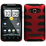 MyBat HTCEVO4GHPCSK002NP Titanium Fishbone Protective Case for HTC Evo 4G - 1 Pack - Retail Packaging - Red/Black