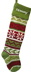 Personalized Knit Christmas Stockings - Green - Red : Green Cuff