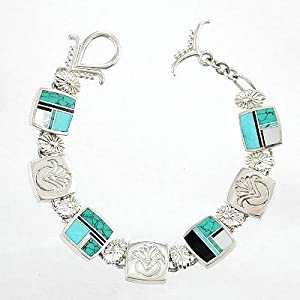 Ray Tracey Sterling Silver Link Bracelet with Turquoise, Black Onyx and Mother of Pearl Inlay, #8572