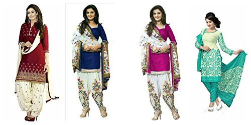 0f038f4d94 Shiroya Brothers Women's Faux Cotton Salwar Suit Dress Material (Combo pack  of 4)(