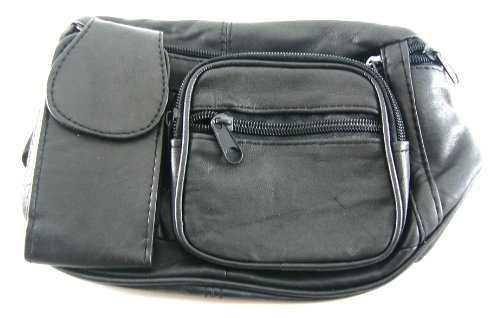 Black Genuine Leather Fanny Pack Waist Bag w/Cell Phone Pocket Holder