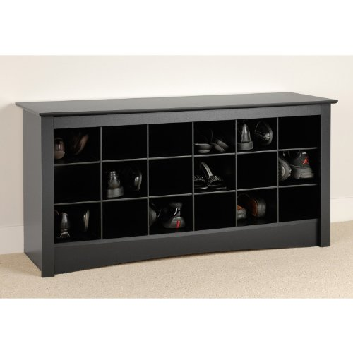 Prepac Shoe Storage Cubbie Bench, Black