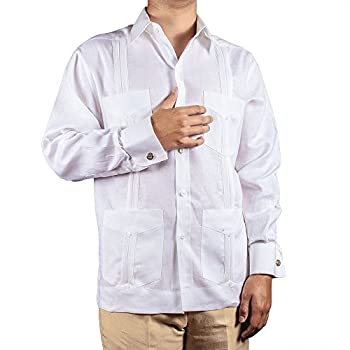 Deluxe Signature French Cuffs White Linen Guayabera