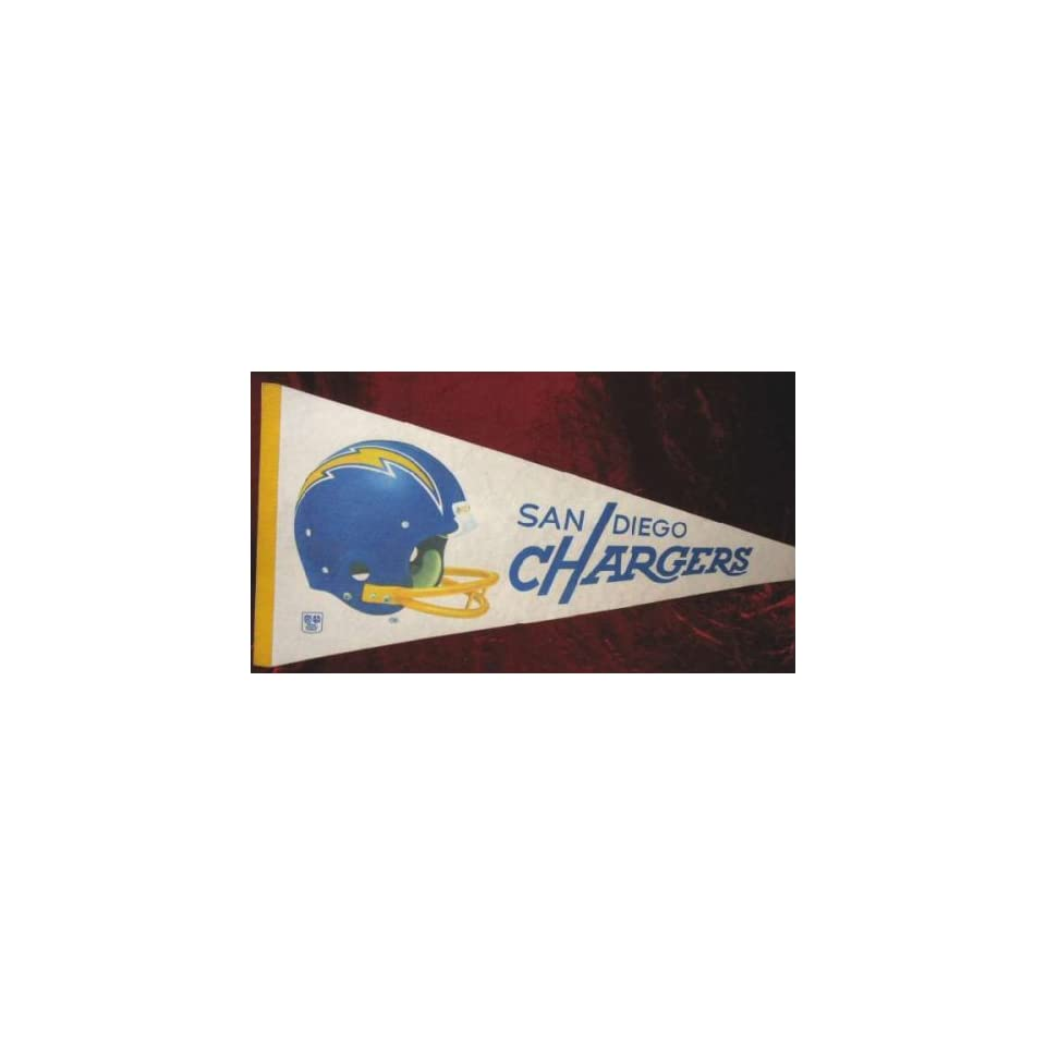 Vintage 70s San Diego Chargers NFL Football Banner Pennant Flag