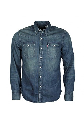 Levi's BARSTOW WESTERN, Camicia Uomo, Blu (SANDY TINT MID), Large