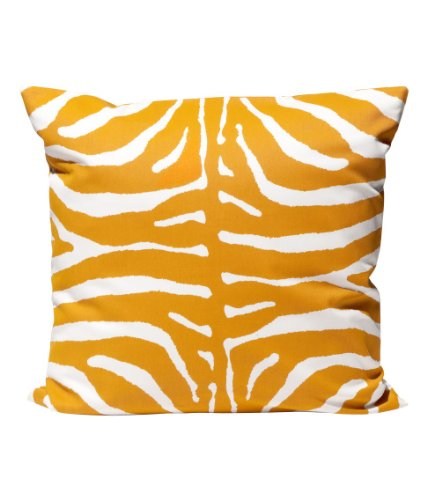 """Zebra Print 100% Cotton Throw Pillow Cover Animal Print Cushion Cover 20 X 20"""" Mustard Yellow And White front-960270"""