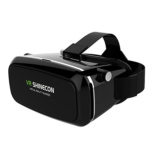 Smarter New Version 3D VR Virtual Reality Glasses with Headset Head-mounted Headband Best for 3D Movies / Games Suitable for 3.5-6.0 Inch iPhone, Google, Samsung Note, LG Nexus, HTC Smartphones Black