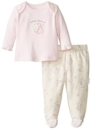 Vitamins Baby Baby-Girls Newborn Little Bear 2 Piece Footed Pajama Set, Pink, New Born