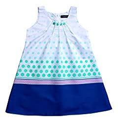 Campana Girls A-Line Dress With Border Print