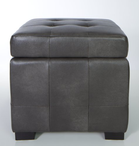 Traditional Storage Ottoman with safety hindge top in Antique Grey Leather like Vinyl