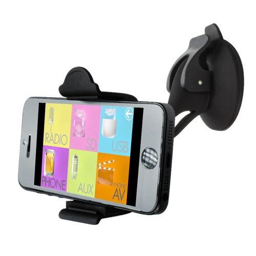 XOMAX XM-HS01 Universal Kfz/Auto-Halterung für Smartphone / Handy 5'' Zoll (12,7cm) + für Windschutzscheibe + starker Saugnapf + mit Kugelgelenk + 360° drehbar + universell verstellbar