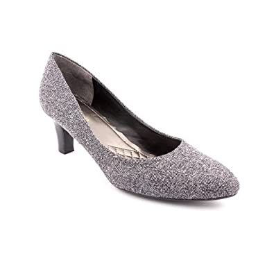 Easy Spirit Quota Womens Size 8 Gray Wide Textile Pumps Heels Shoes UK 6.5