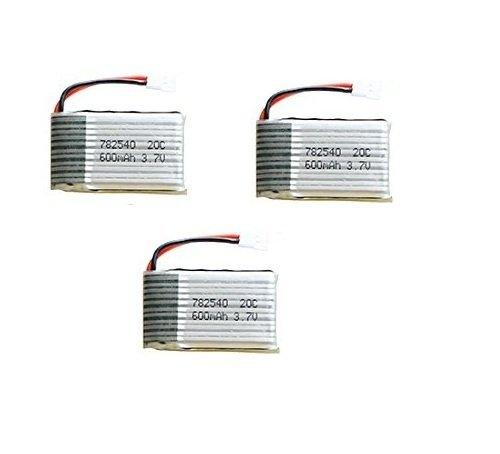 MicroMall 3pcs Upgraded Syma X5C X5 3.7V 600mAh 25C Lipo Battery