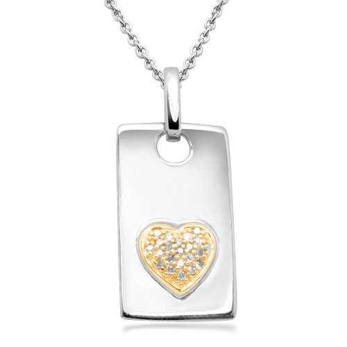 18k Gold Plated Sterling Silver Diamond Dog Tag Pendant Necklace with Heart (1/10 cttw, I-J Color, I2-I3 Clarity), 18