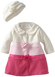 Bonnie Baby Girls\' Colorblock Fleece Coat Set, Pink, 12 Months